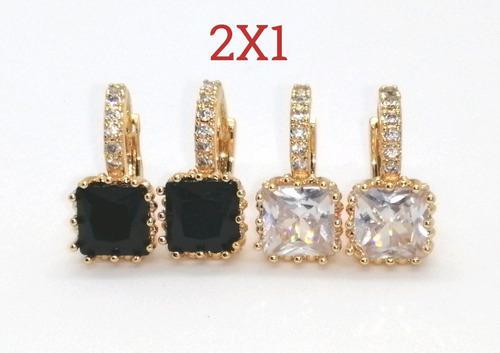 Arracadas De Oro De 18 K Lam Con Zirconias Y Cristales 2x1