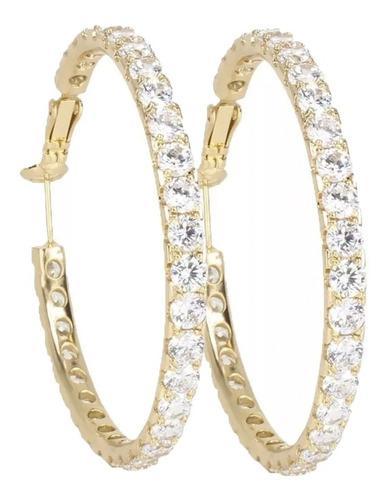 Arracadas Grandes Con Cristales Swarovski 4.5cm Oro Laminado