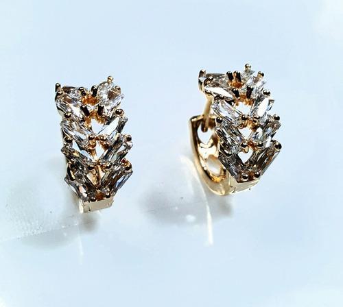 Arracadas Oro Lam 18k Y Cristales