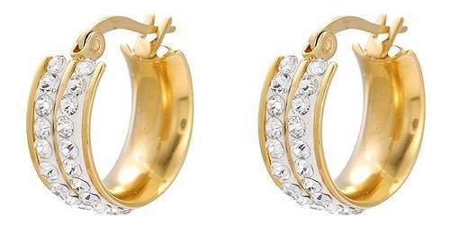Bellas Arracadas De Oro 24k Lam Cristales Swarovski Tornasol