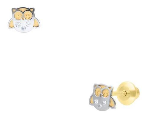 Broqueles Bizzarro Oro Bicolor En Forma De Buho C/ -bzr26614