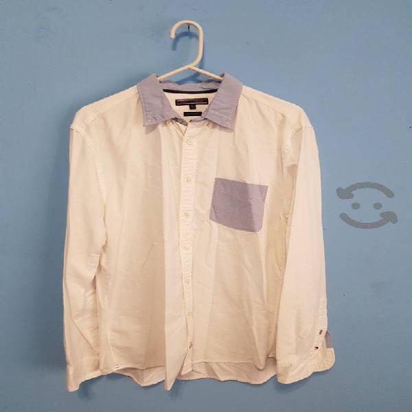 Camisa Vestir Tommy Hilfiger Blanca cuello azul