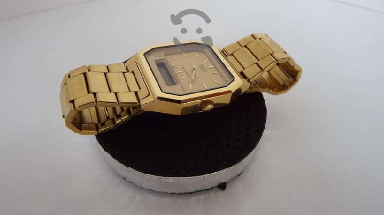 Espectacular Reloj Seiko Dorado dual Retro