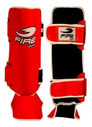 Espinilleras Fire Sports Mma Muay Thai Pvc Abierta Rojo