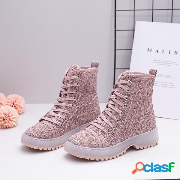 Mujer Zapatos de tela con cordones Color sólido Resistente