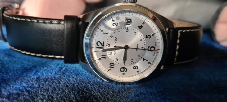 Reloj Hamilton cuarzo piel negro/café / Caucho