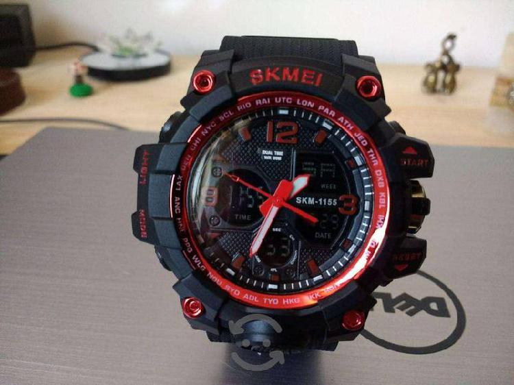 Reloj skmei hora dual rojo con negro nuevo