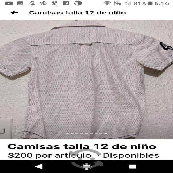 camisa de niño talla 12