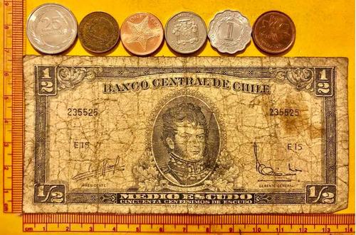 Lote De 6 Monedas Y Un Billete Antiguo De Países De