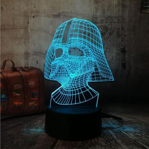 Lampara 3 D Led Star Wars Darth Vader 3d 7 Colores