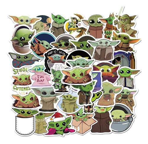 Yoda Baby 50 Calcomanias Stickers Pvc Contra Agua Star Wars