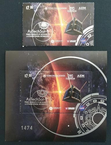 Mexico  Nano Satélite Aztechsat Timbre + Hojita Ed