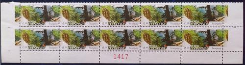 Mexico $1 Bosques Tinta Fluor. Conserva  Block De 10 Fot