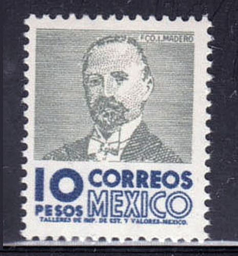 Mexico Serie  Fco. Madero Fil. Papel Fluor. Mnh