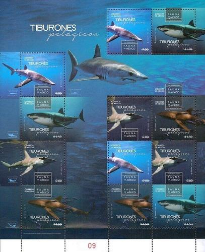 Mexico  Tiburones Hoja De 12 Timbres Mint Rara Ver Foto
