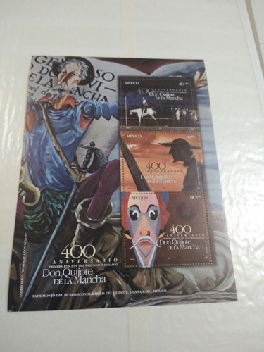 México, Hoja Souvenir Don Quijote De La Mancha. Nueva