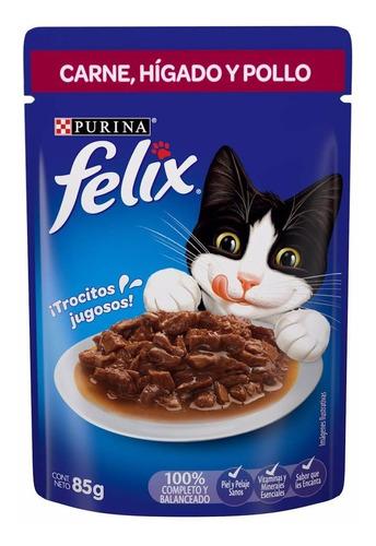 Alimento Felix Sabor Carne, Hígado Y Pollo 85gr
