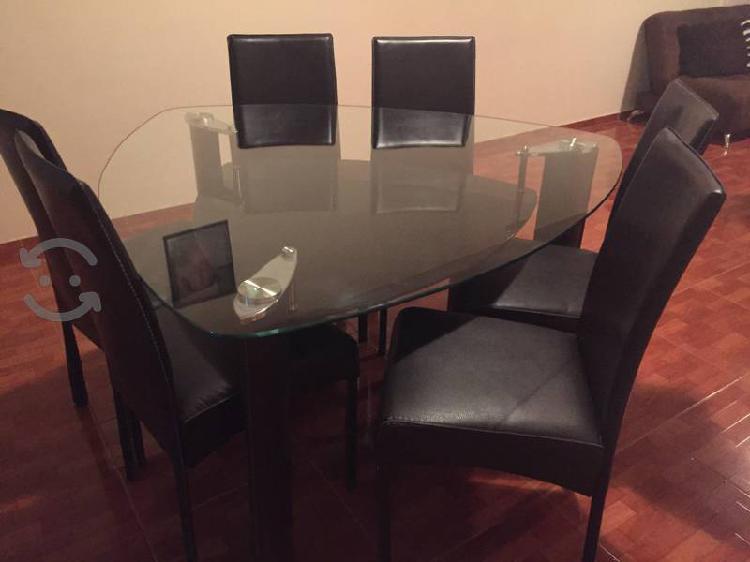 Vendo comedor doble cristal templado y 6 sillas