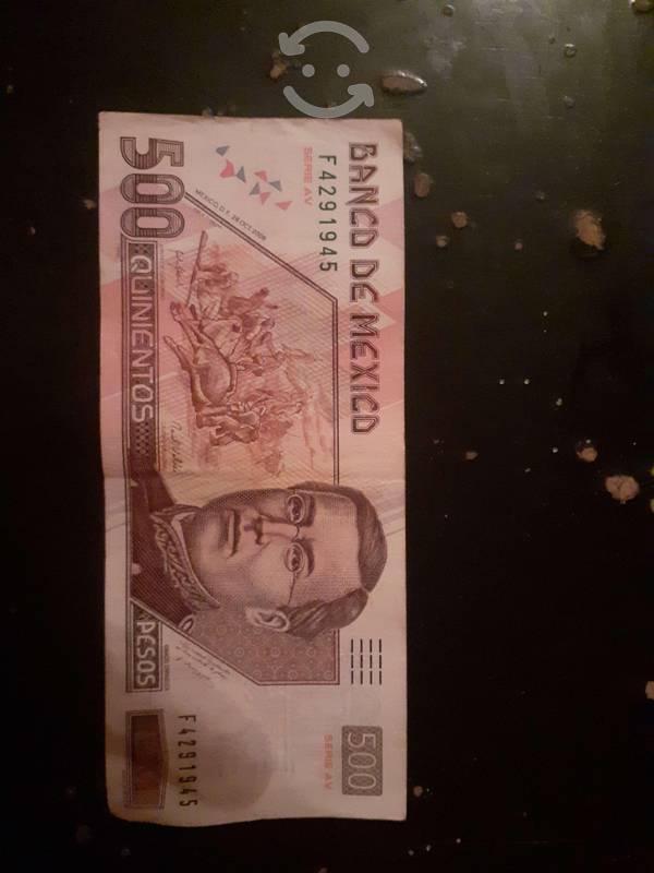 Billete de 500 de Ignacio zaragoza