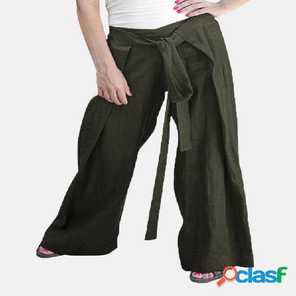 Mujer Cintura elástica con cordones Color sólido Casual
