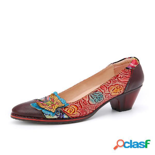 SOCOFY vendimia Zapatos de tacón grueso sin cordones con