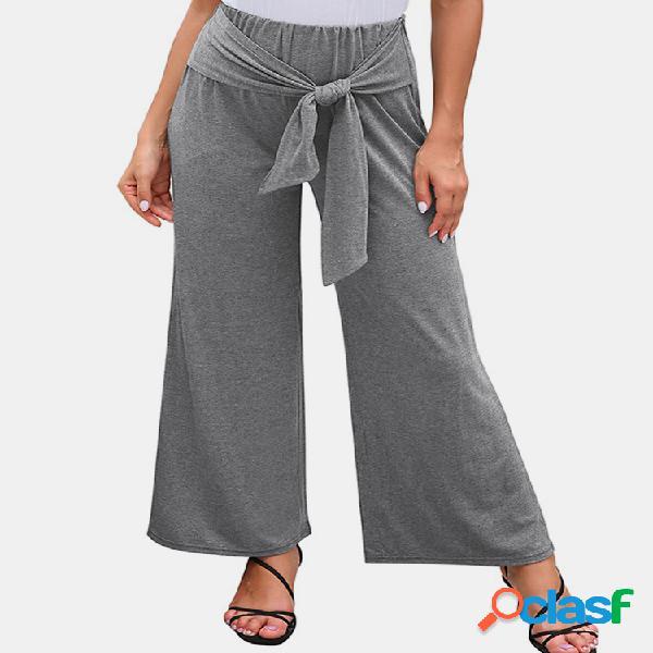 Estiramiento con cordones Color sólido Casual Pantalones