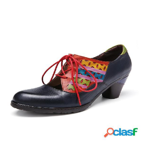 SOCOFY Zapatos de tacón grueso con cordones y corte de